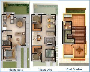 Plano de casa americana de dos plantas