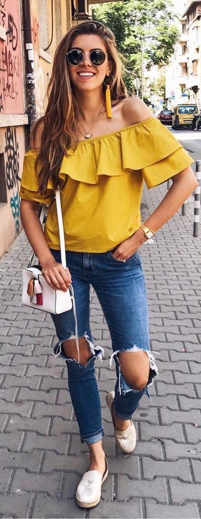 Blusas amarillas casuales