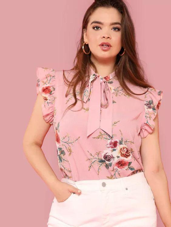 Blusas color rosa modernas para gorditas