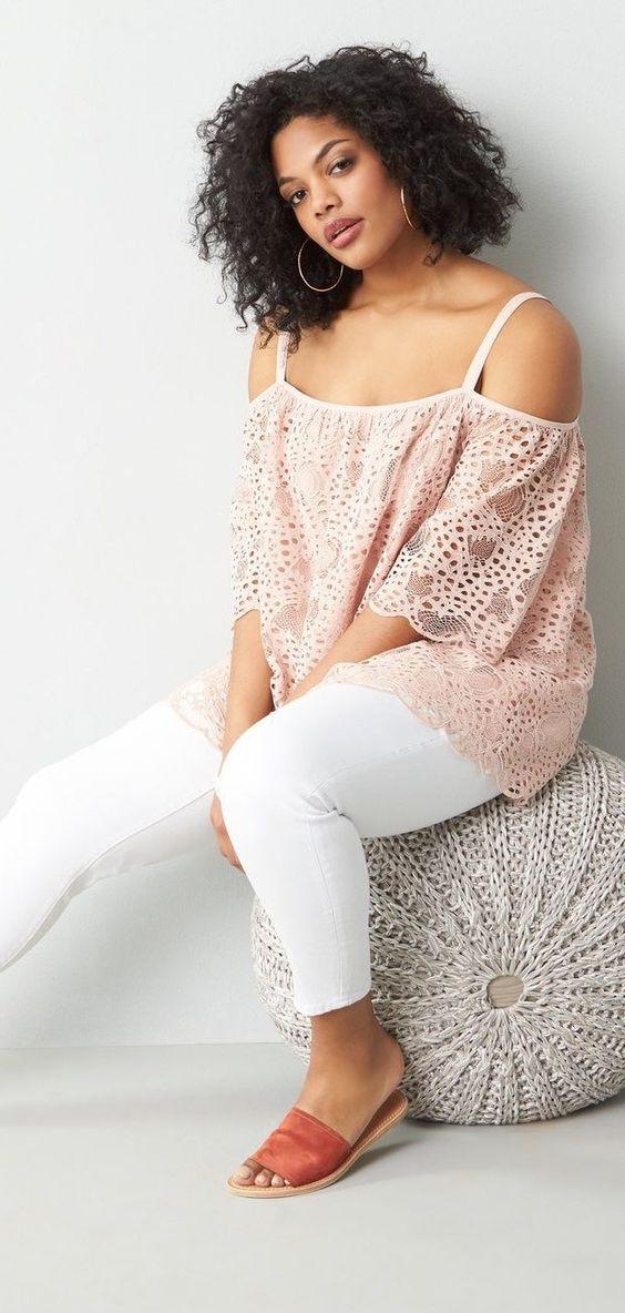 Blusas de encaje de moda para gorditas