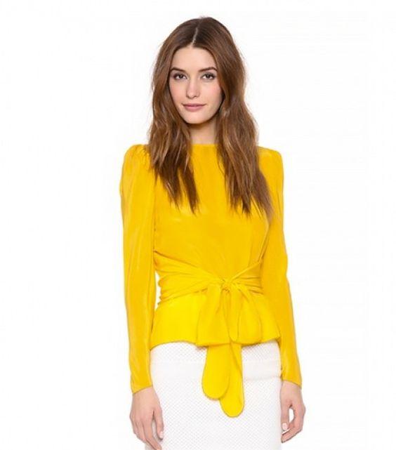 Blusas de moda amarillas formales