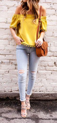 Blusas de moda amarillas juveniles