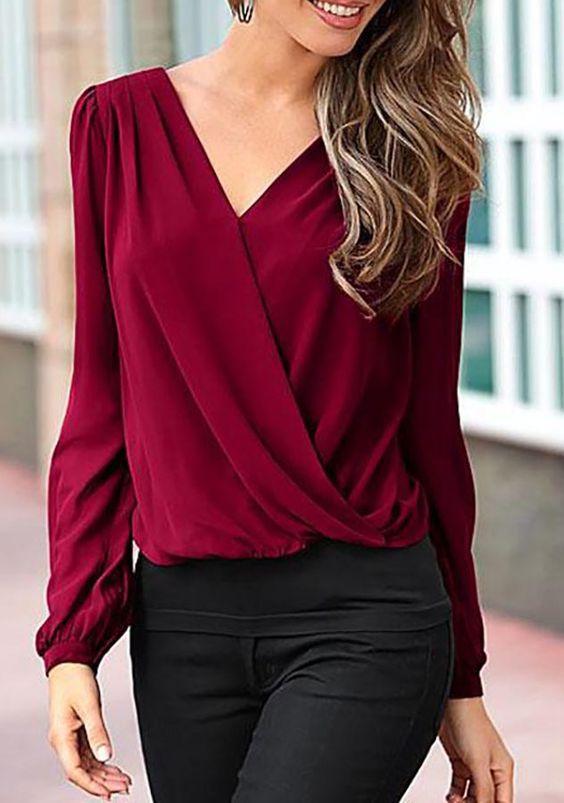 Blusas en color vino formales