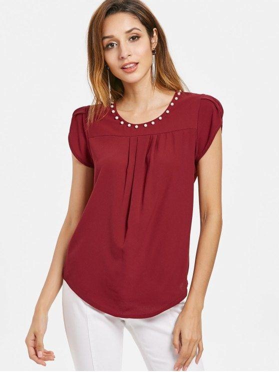 Blusas en color vino para mujer casuales
