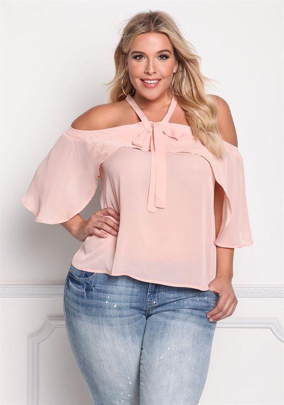 20b78eb6f Blusas rosas para gorditas 2018 - Ideas Bonitas Para