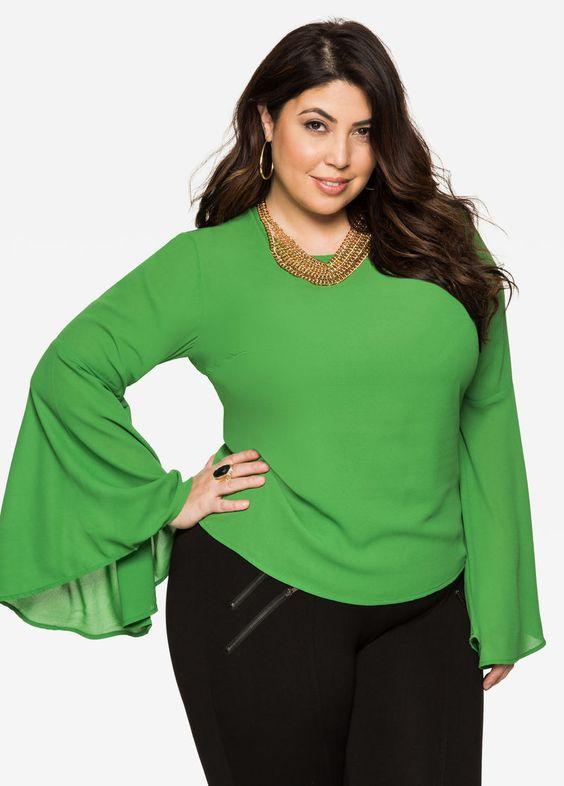 Blusas verdes de moda para gorditas