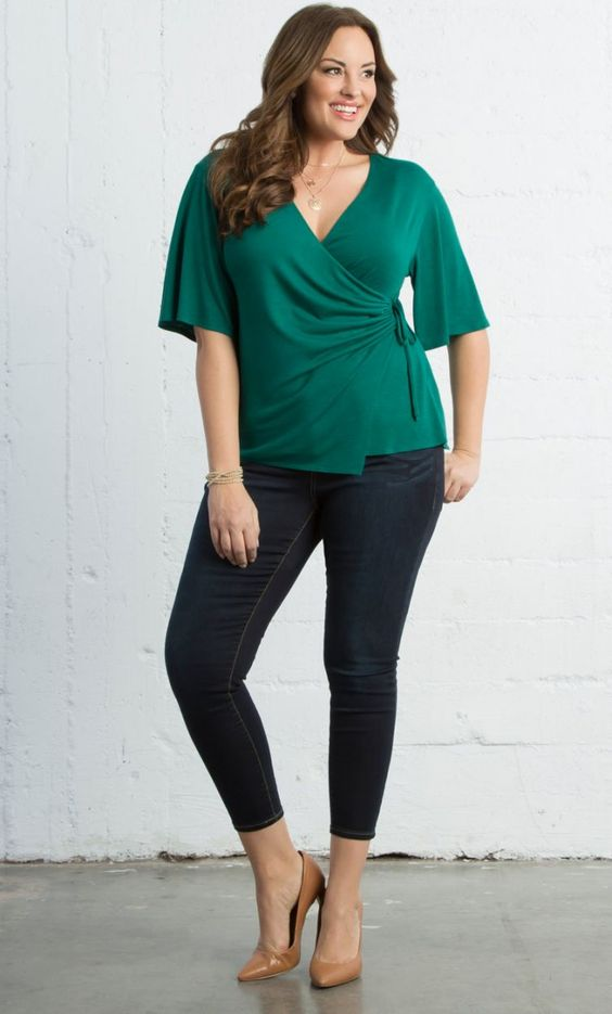 Blusas verdes elegantes para gorditas
