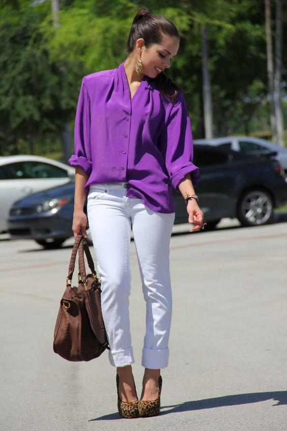 Diseños de blusas moradas casuales