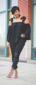 Imágenes de blusas negras elegantes para gorditas