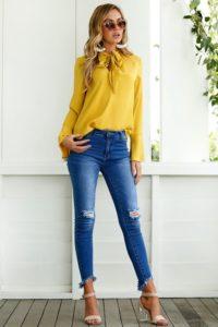 Looks con blusas amarillas de moda
