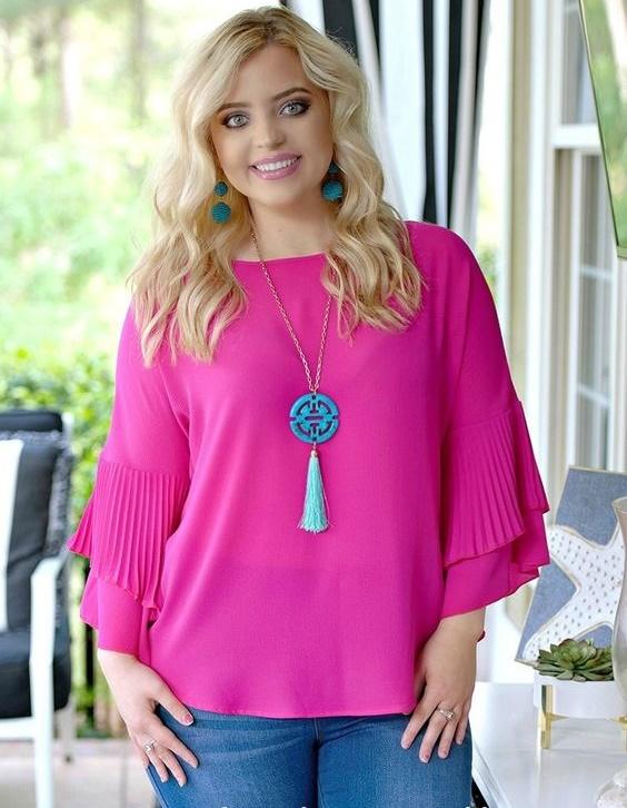 Moda en blusas rosas para gorditas