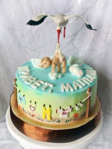 Pastel O Torta De Cigueña Para Baby Shower