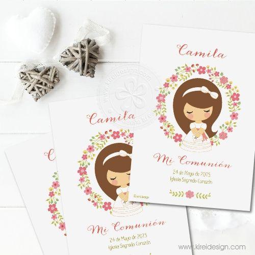 tarjeta para primera comunion de niña