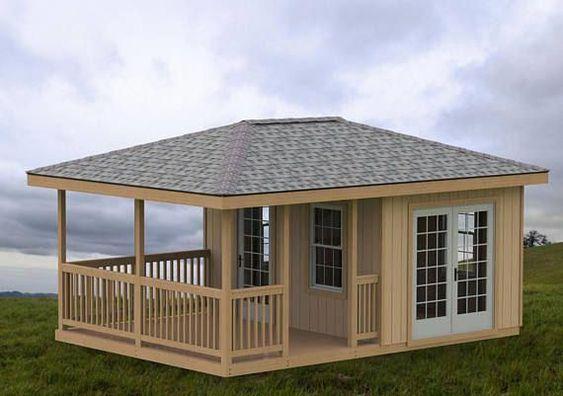 Diseño de casa de campo pequeña con moderna estructura de madera