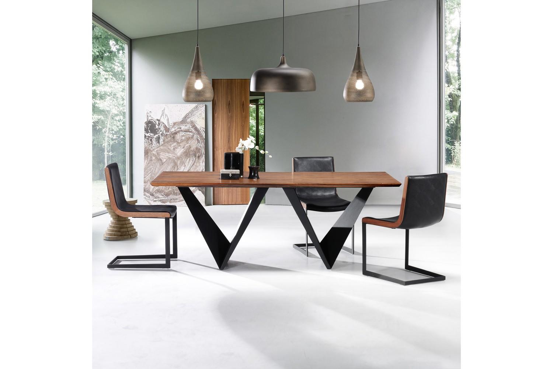 Mesas de comedor de dise o italiano combinadas madera - Mesas de comedor cristal y acero ...