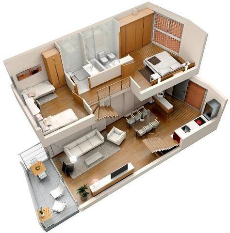 Planos de casa pequeña y moderna