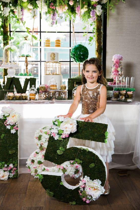 Decoración para fiesta de cumpleaños del jardín secreto