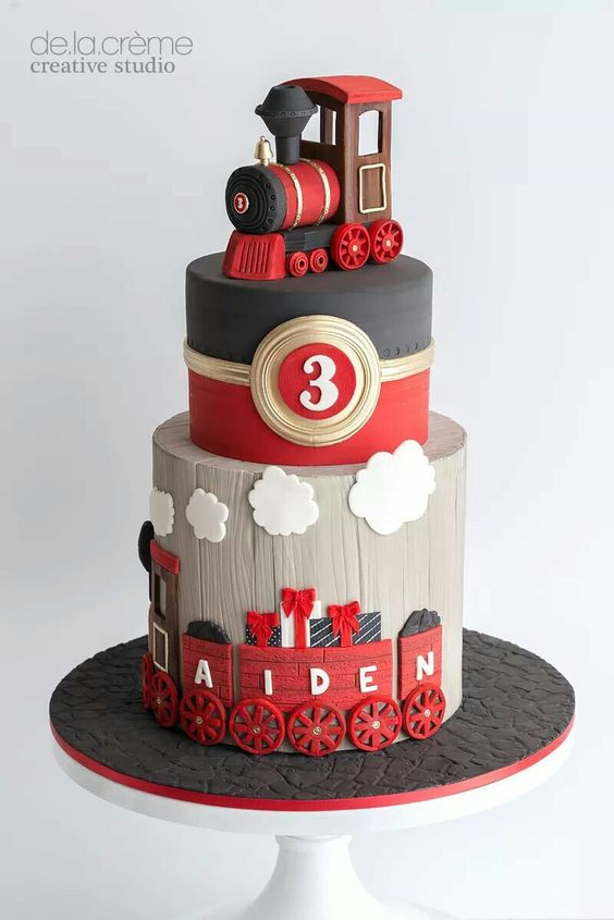 Diseño de pasteles para fiesta de cumpleaños de ferrocarril