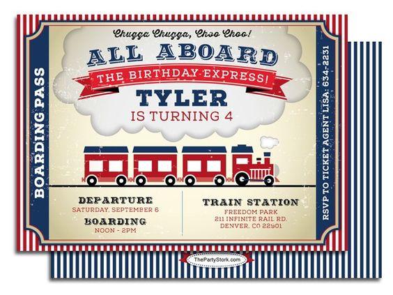 Invitaciones para fiesta de cumpleaños de ferrocarril retro