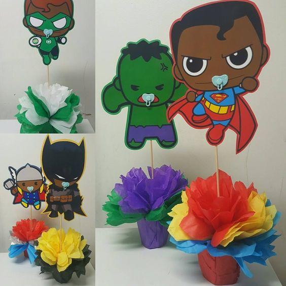 Centros de mesa de superheroes bebés de papel china