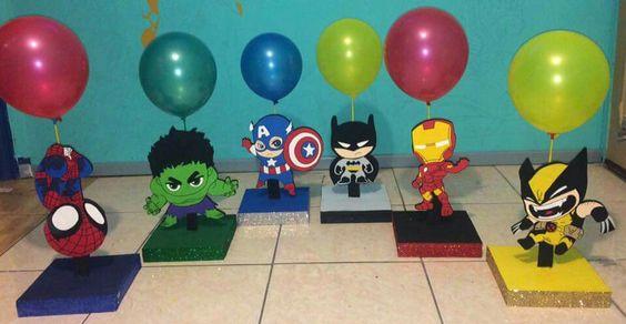 Centros de mesa de superheroes bebés