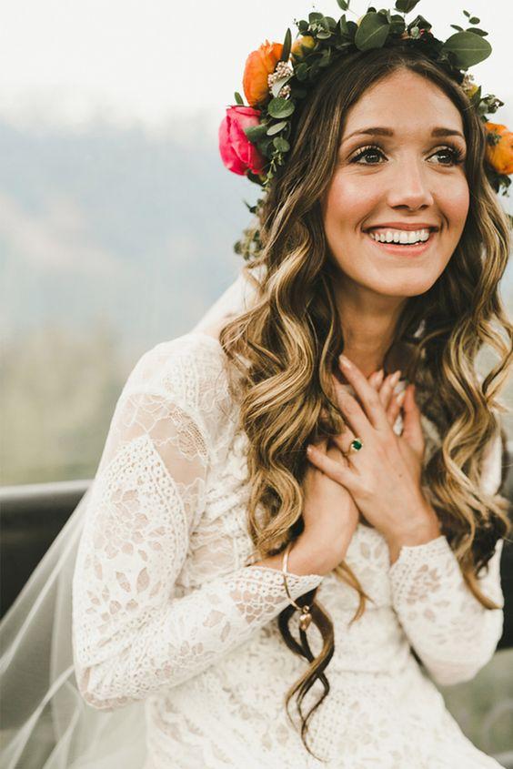 Tipos de tocado para una novia con estilo boho chic
