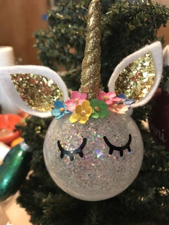 esferas de navidad de unicornio