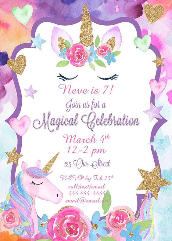 invitacion fiesta unicornio