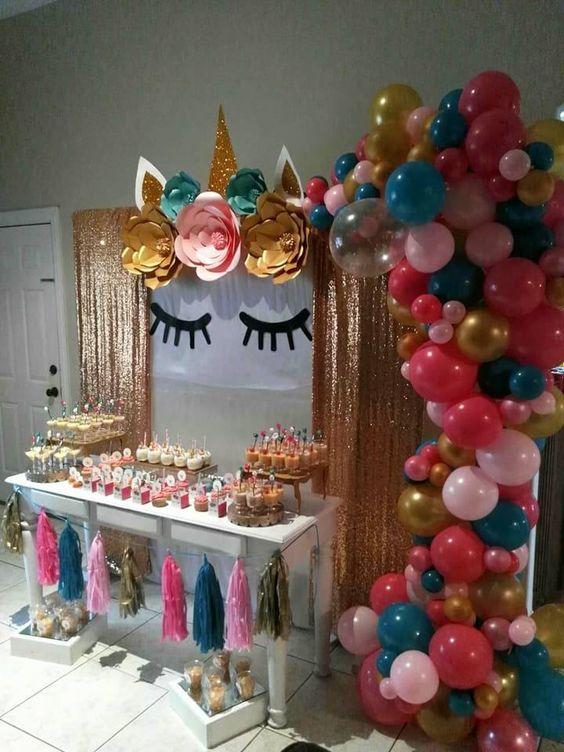 Decoración fiesta de unicornio