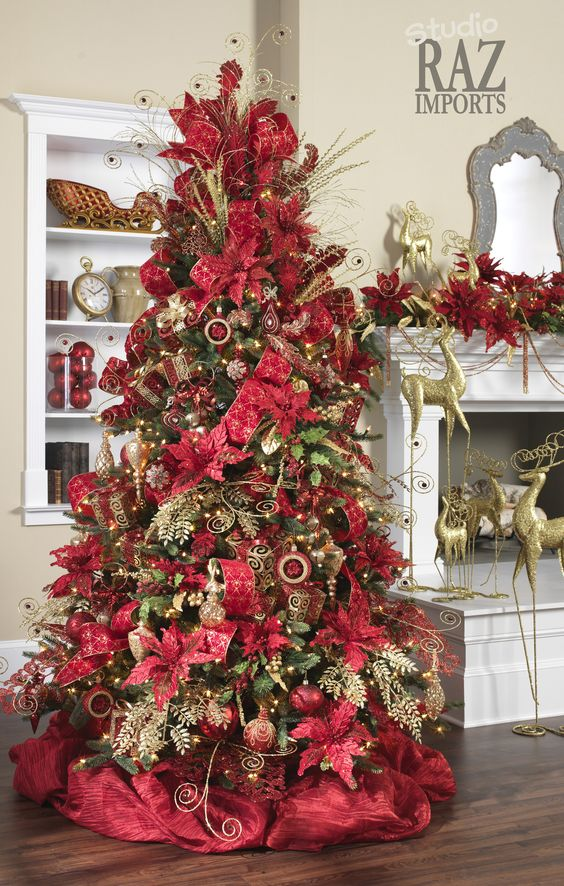 Árboles de navidad modernos rojos