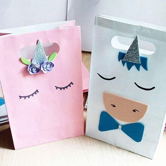 28dd521a9 Dulceros de unicornio con bolsas de papel | Como hacer dulceros
