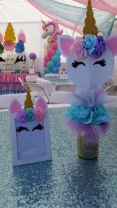 centros de mesa de unicornio