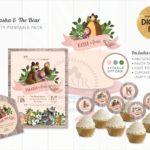 kit para imprimir gratis de masha y el oso