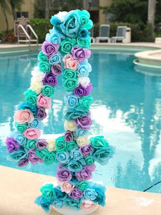 numeros decorados con papel crepe