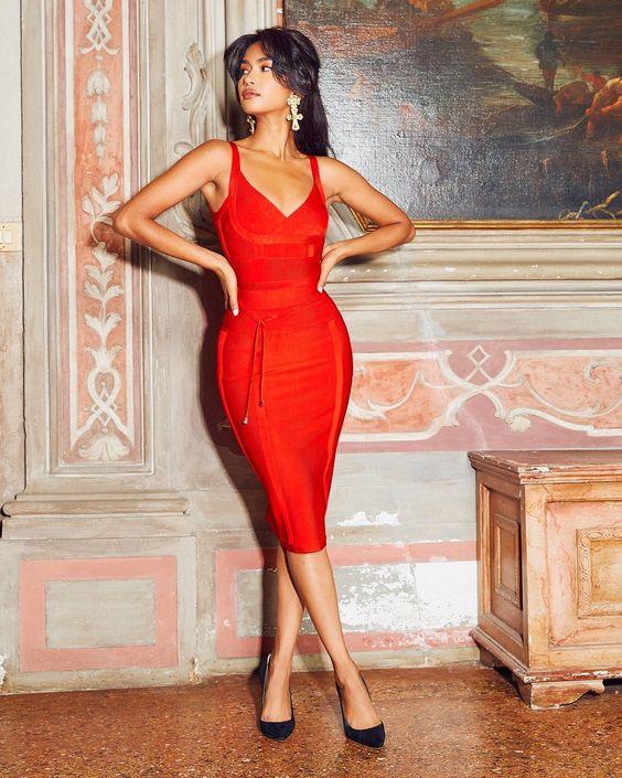 vestidos rojos tipo coctel corte body