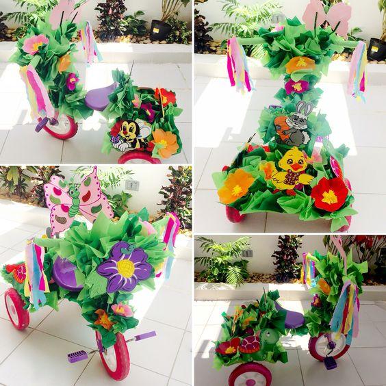 como decorar un triciclo para desfile de primavera 2019