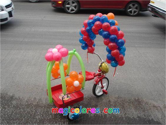 decoracion de triciclos para niños con globos