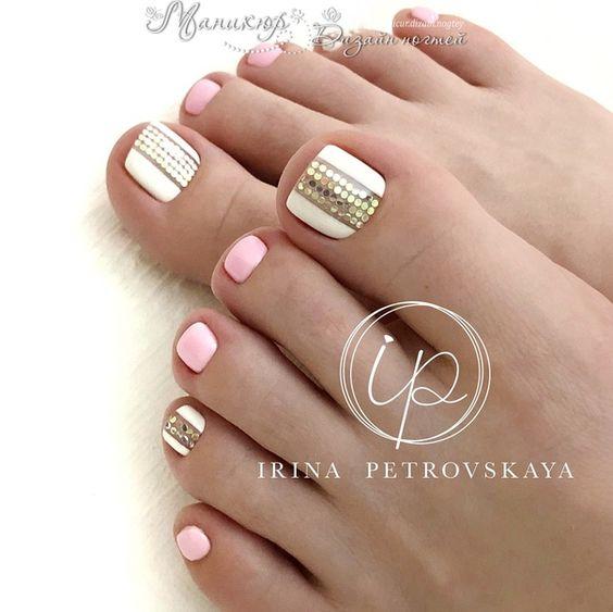 decoracion de uñas de los pies sencillas 2019