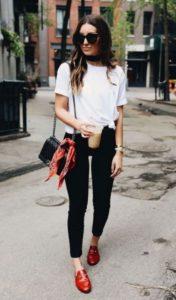 ideas para look casual usando zapato flat o zapato de tacon