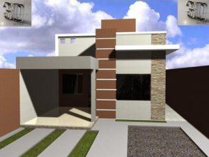 casa sencilla de una planta con muros en el diseño