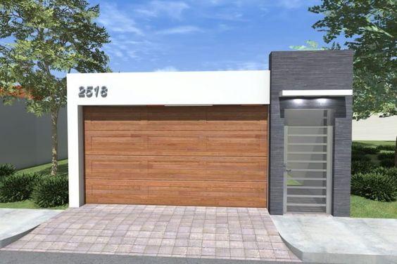 como construir la fachada de una casa pequeña con porton de madera