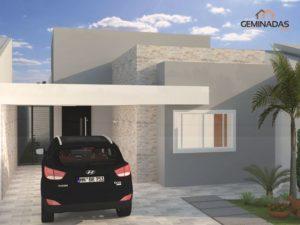 fachada de casa moderna de un piso sencilla y elegante