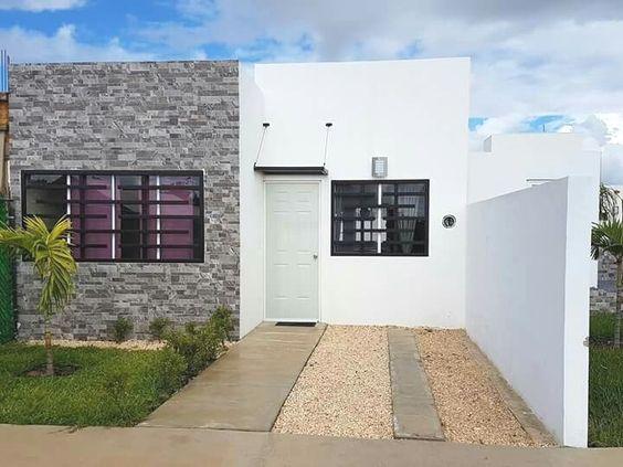 fachada moderna para casa de infonavit con cantera en la pared