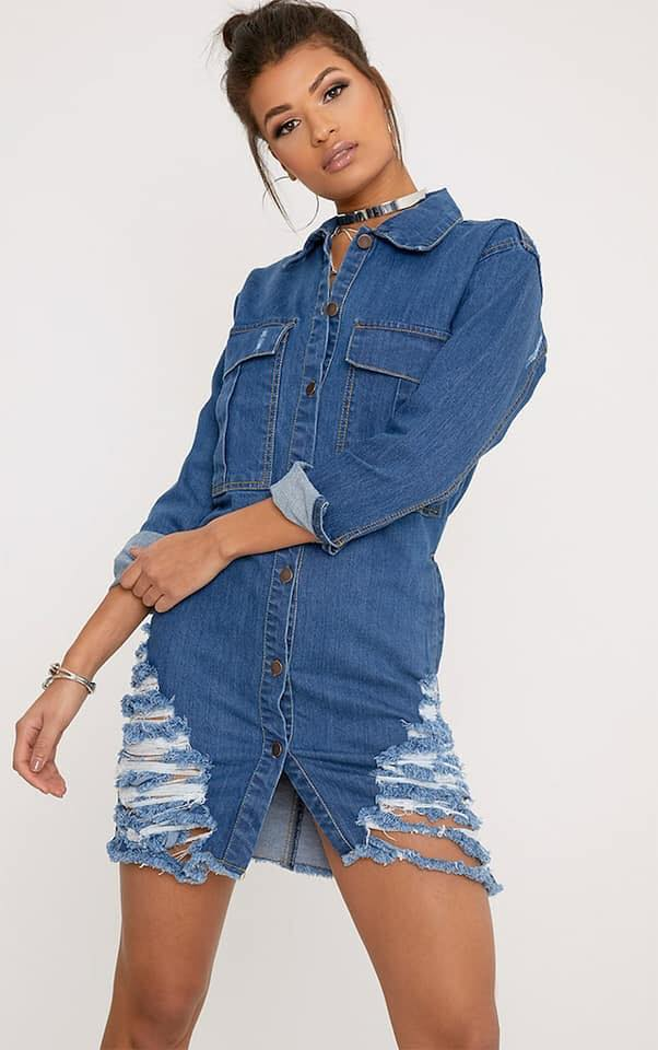 vestidos de mezclilla tipo bluzon