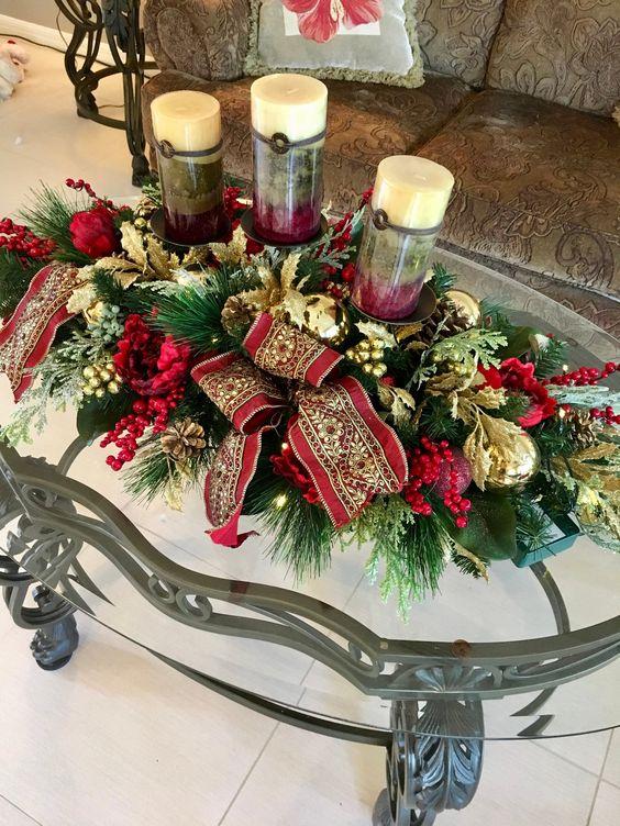 Centros de mesa navideños 2019 elegantes