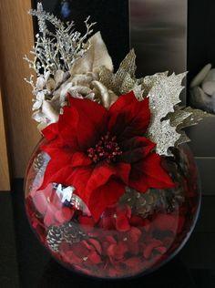 Centros de mesa y adornos para Navidad con noche buenas 2019