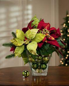 Centros de mesa y adornos para Navidad con noche buenas