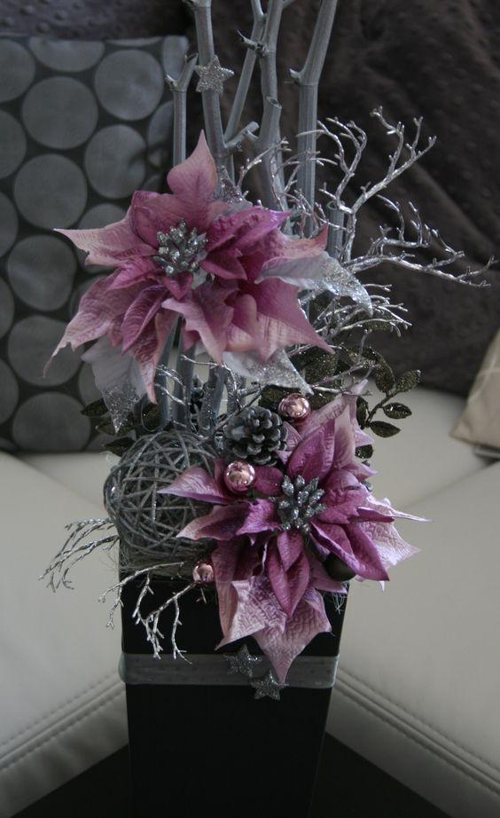 Color lila para decorar Centros de mesa y adornos para Navidad con noche buenas