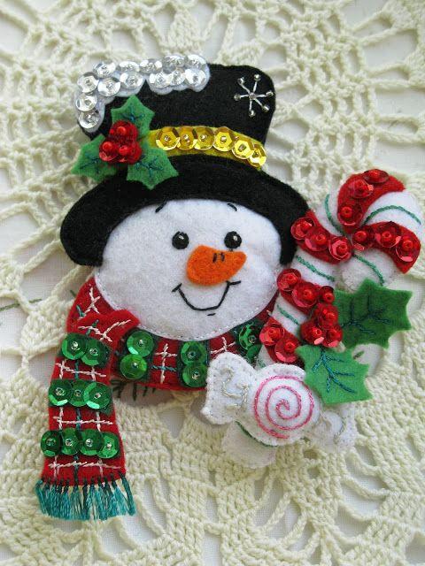 Como hacer muñecos de nieve en fieltro paso a paso