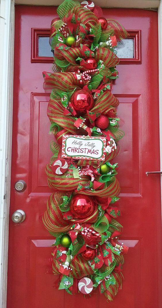 Decoracion navideña para puertas de entrada modernas
